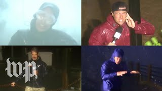 TV reporters tell viewers what wind and rain feel like