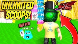 THE BEST PET + THE BEST HATS IN ICE CREAM SIMULATOR!! *UNLIMITED SCOOPS* (Roblox)