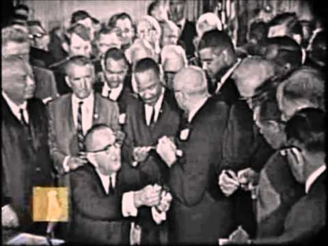 MLK at Civil Rights Act of 1964 Signing Ceremony
