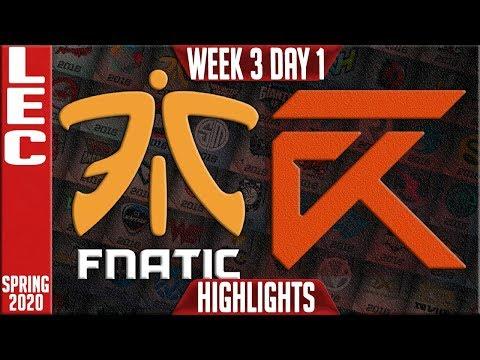 FNC vs XL Highlights | LEC Spring 2020 W3D1 | Fnatic vs Excel