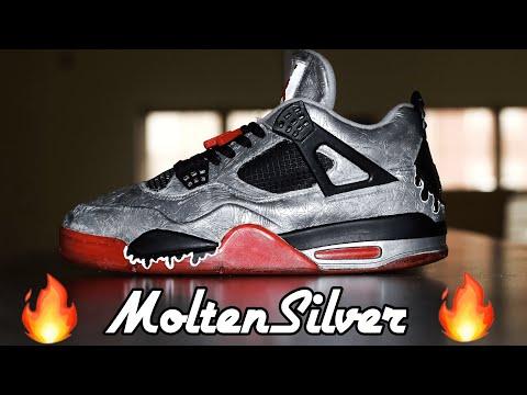 Custom Jordan 4s | Molten Silver