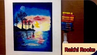 Oil pastels drawing for beginners -How to Draw Moonlight Scenery