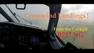 B-737NG Crosswind Landings From the Cockpit!