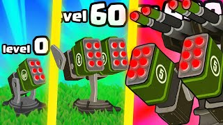IS THIS THE HIGHEST LEVEL STRONGEST TURRET TOWER EVOLUTION? (9999+ LEVEL UPGRADE) l Turret Fusion