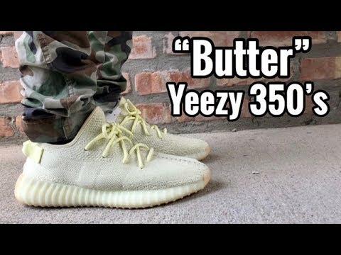 "8fe12ceb16abd adidas Yeezy 350 V2 ""Butter"" on feet - YouTube"