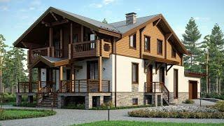Проект дома из Теплой Керамики | Комбинированный дом в скандинавском стиле. Ремстройсервис М-224