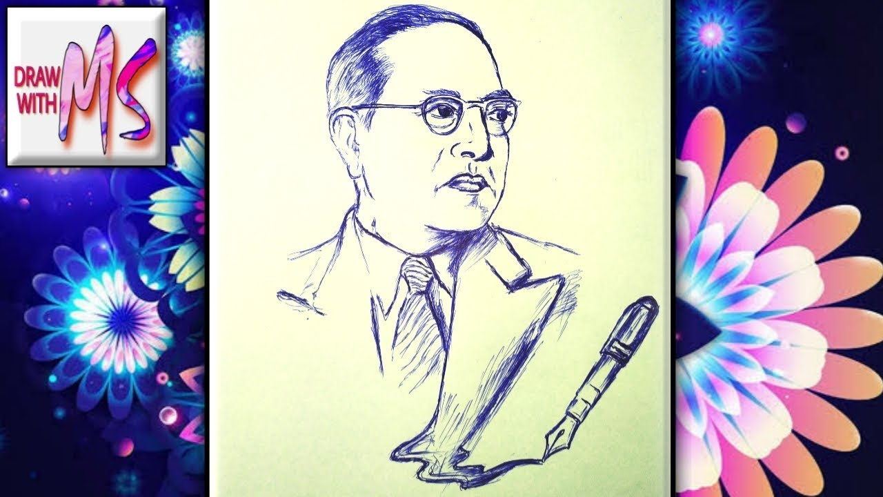 Download How to draw Dr BABASAHEB AMBEDKAR  Sketch | With simple BALL POINT PEN ✍️| DRAW WITH MS |