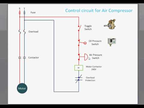 Three Phase Wiring Diagram Air Conditioning Control Circuit For Air Compressor Youtube