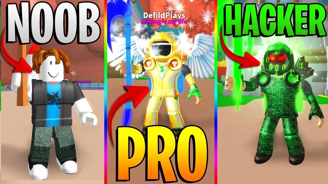 Roblox Noob Vs Pro Vs Hacker Roblox Mining Simulator Funny