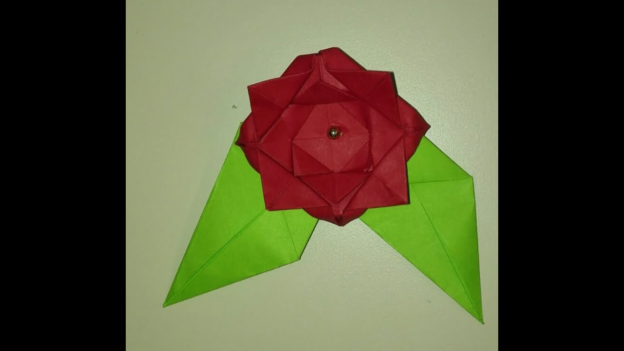 Tutorial easy origami roseflower with leaves diy youtube tutorial easy origami roseflower with leaves diy mightylinksfo