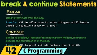 Loop Control Statements − break and continue