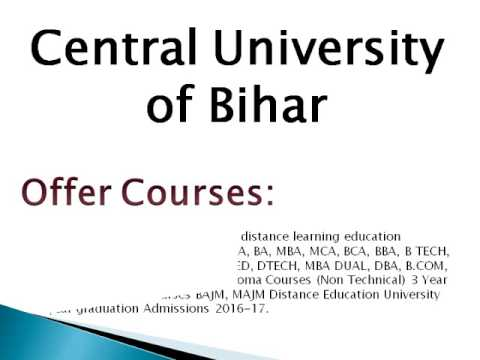 Central University of Bihar Distance Education in India