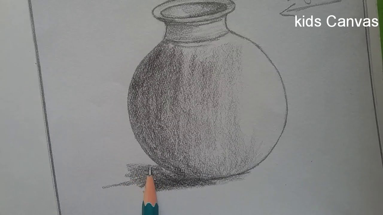 How to draw a pot with basic shapes pot pencil shading for kids stilllife drawing