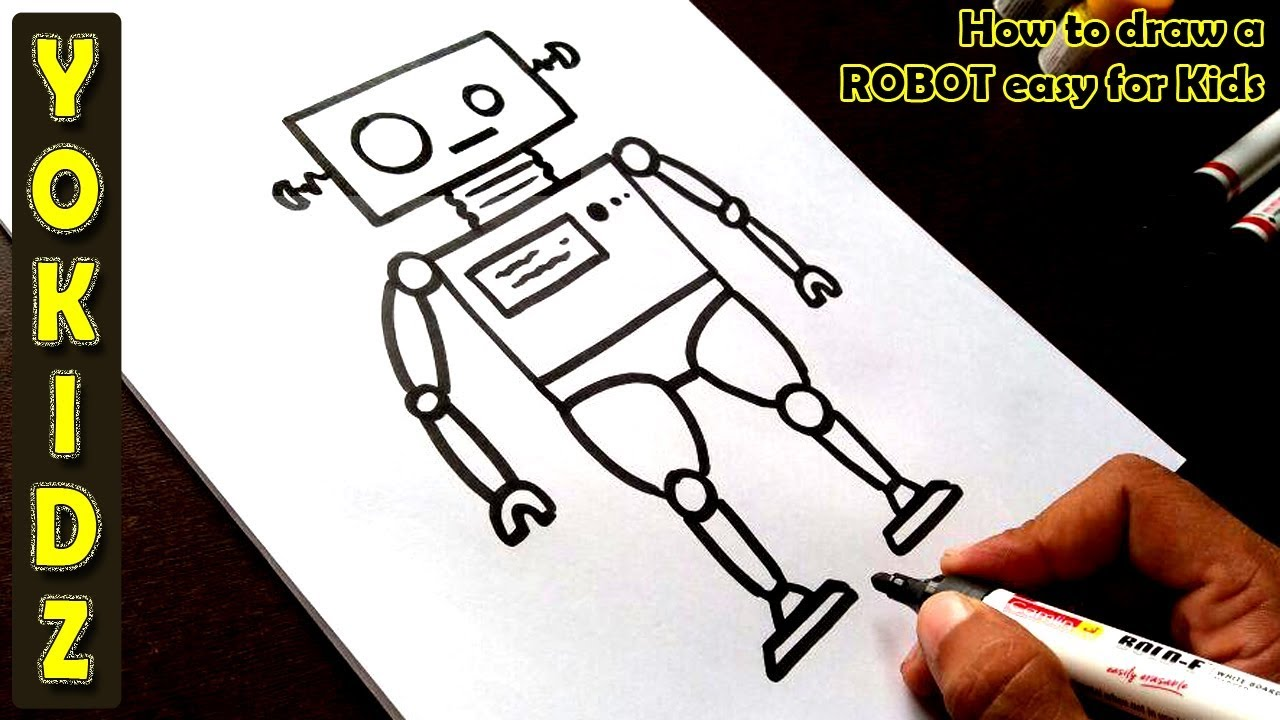 How To Draw A Robot Easy For Kids Youtube