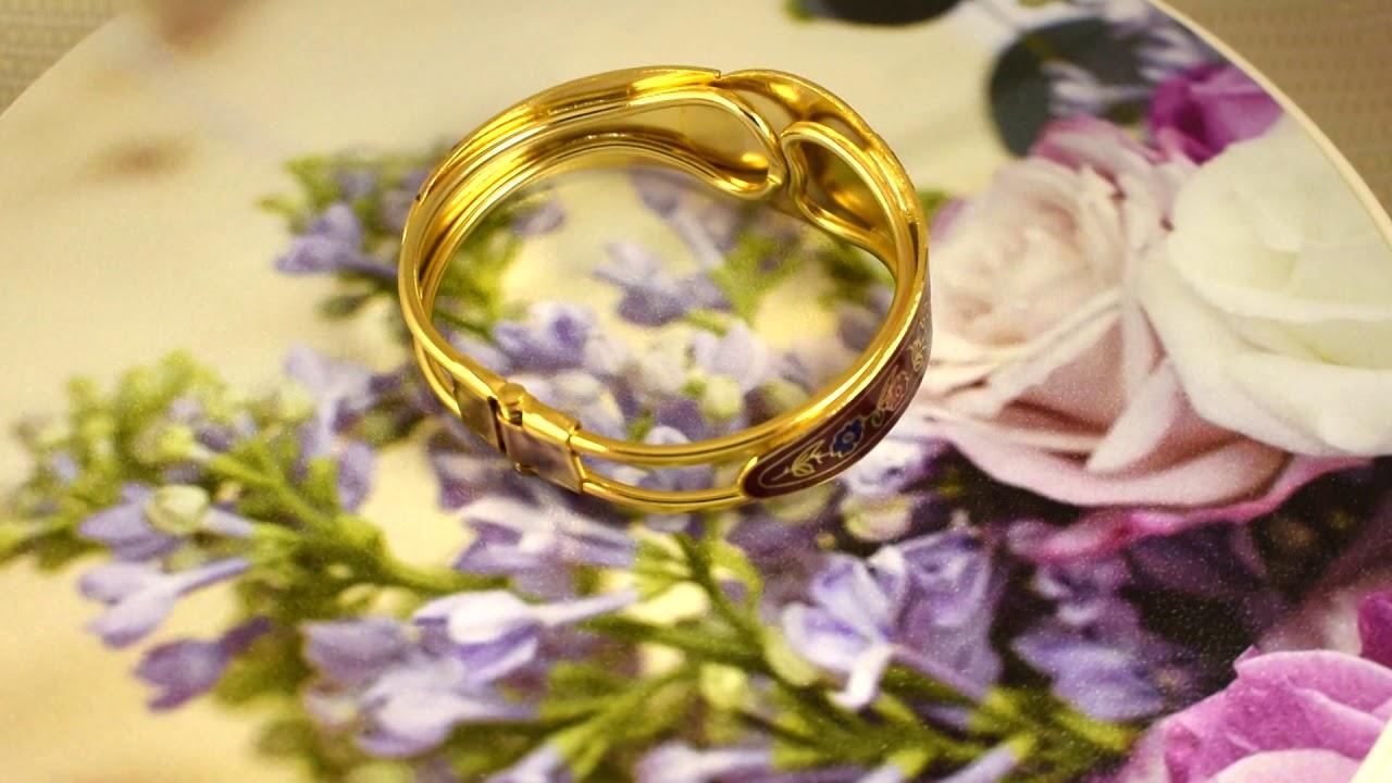 """Винтажный браслет """"Цветы и бабочки на красном"""" клуазоне ..."""