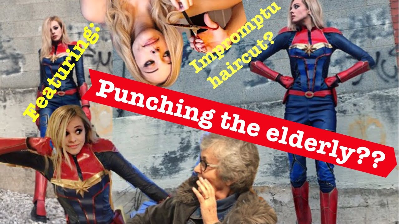 DIY Captain Marvel Costume (Ft  Punching an old lady)
