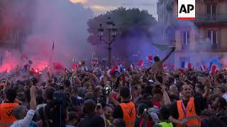 French football fans celebrate win in WC semi-final at Paris City Hall