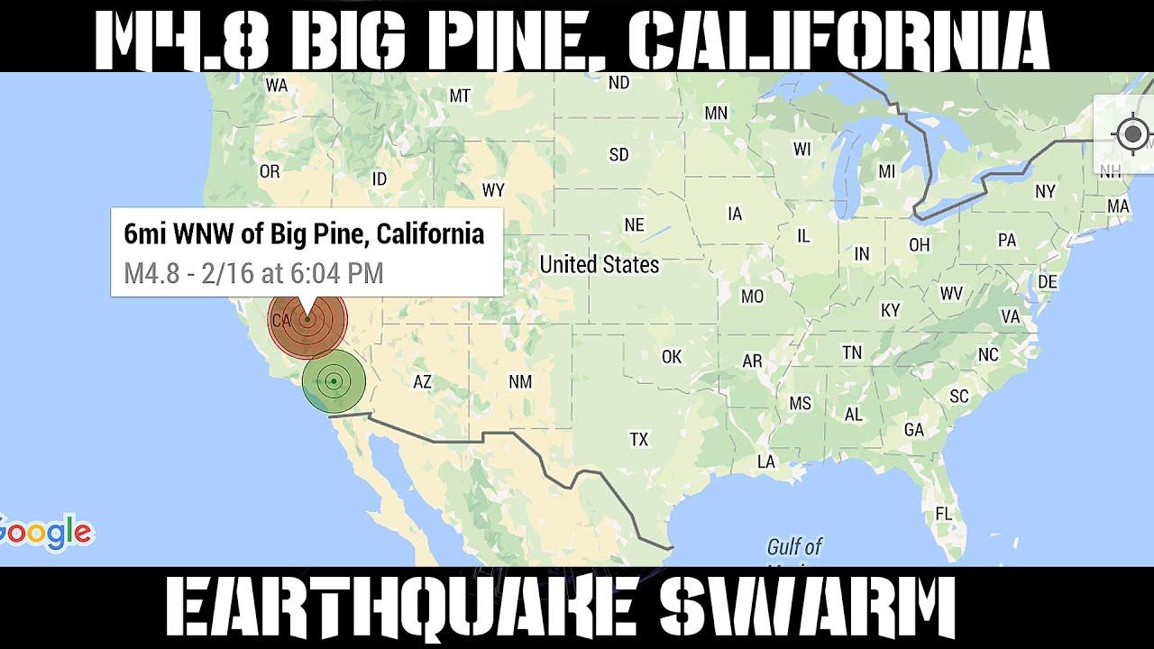 earthquake report february 16 2016 m4 8 big pine ca earthquake swarm m4 0 global unrest