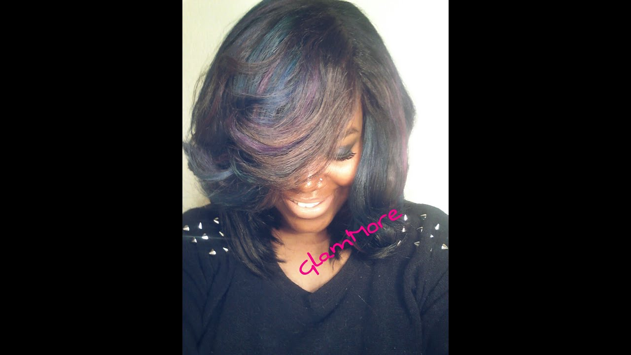 Purple Blue Pink Green Hair Color Bob Cut
