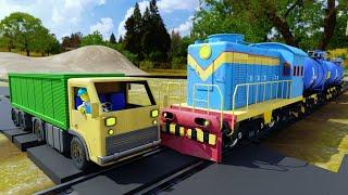 Train Truck Accident will happen - Truck race cartoon - choo choo train kids videos