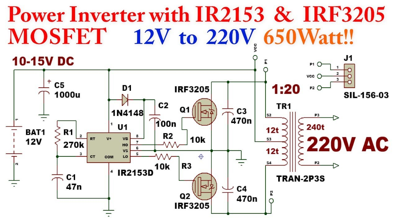 Power Inverter with IR2153 12V to 220V (DC-AC) 650Watt!!