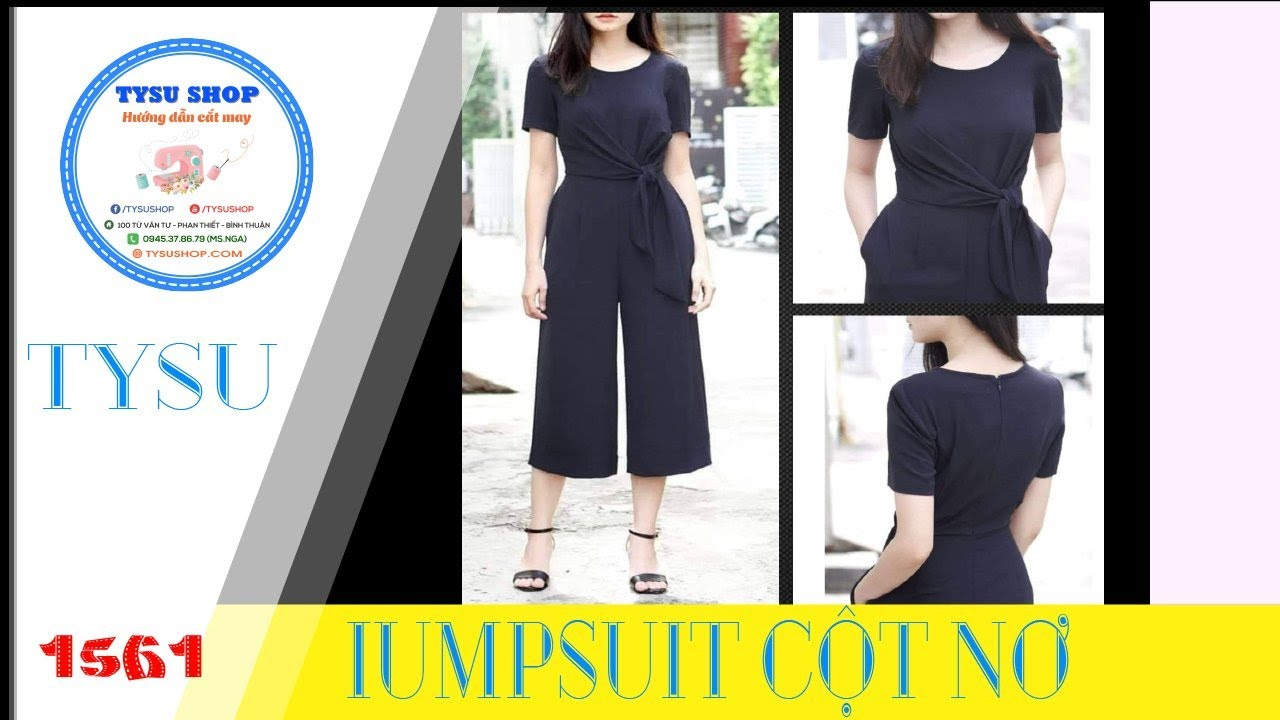 Cắt May tysushop 1561 Jumpsuit Cột Nơ Cutting &stitching