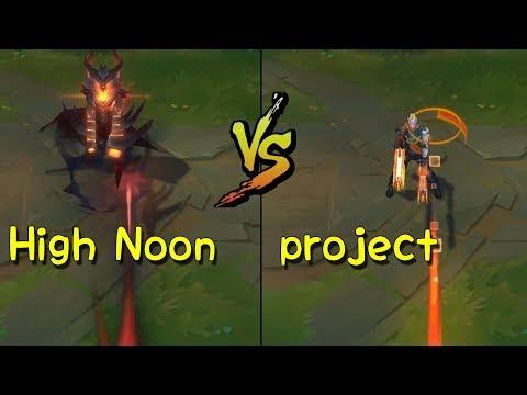 High Noon Lucian vs project Lucian Skins Comparison (League of Legends)