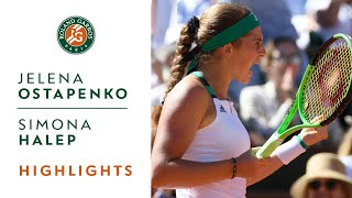 Jelena Ostapenko v Simona Halep Highlights - Women