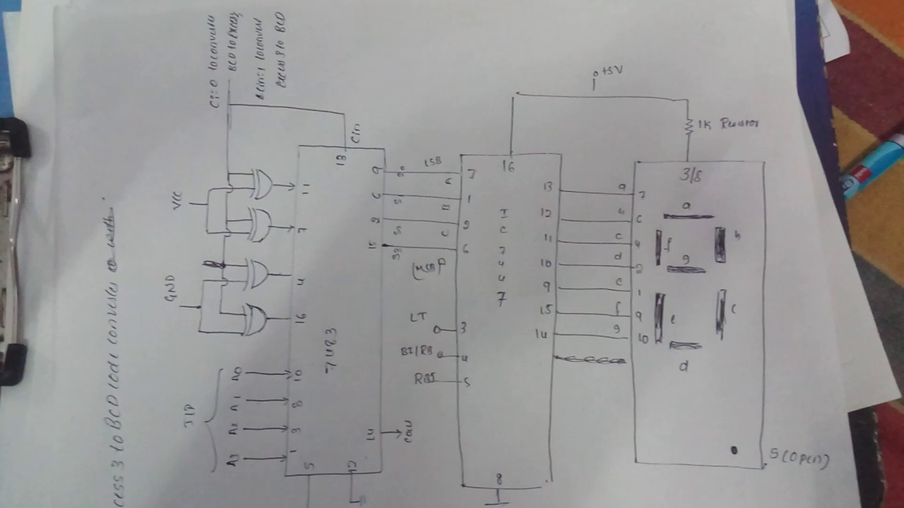 Circuit Diagram Of Excess 3 To Bcd Code Converter Display Output Led With Seven Segment