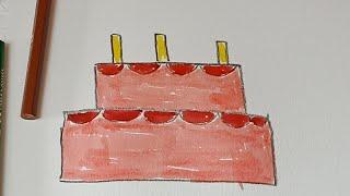 رسم وتلوين للاطفال،كيف ترسم تورته عيد الميلاد،رسم اطفال