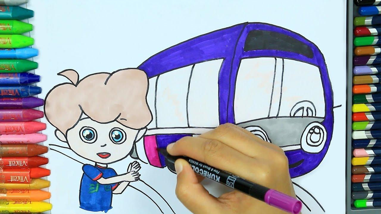 Otobüs Nasıl çizilir Boya Boya çizelim Boyayalım çocuklar