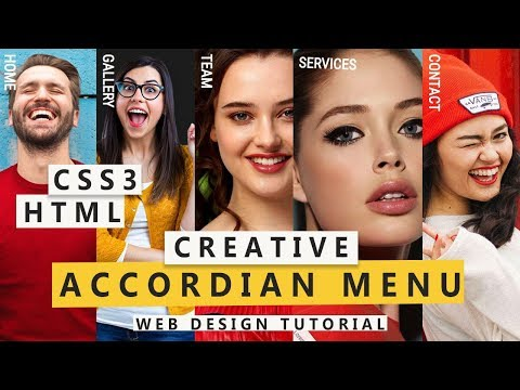 Creative Accordian Effect / HTML, CSS 3 - Web Design Tutorial