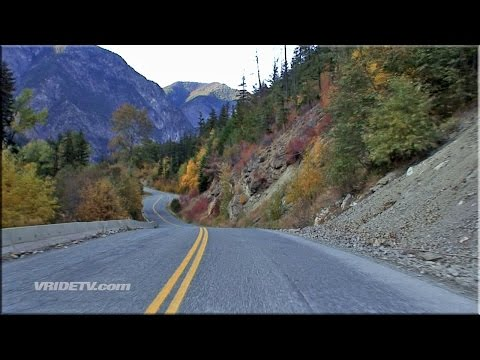 FALL Motorcycle riding. Mountains. British Columbia Canada