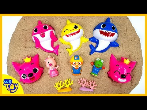 Pinkfong Baby Shark Playing in the Sand. Color for Children to Learn with Toy Cars   WeToy