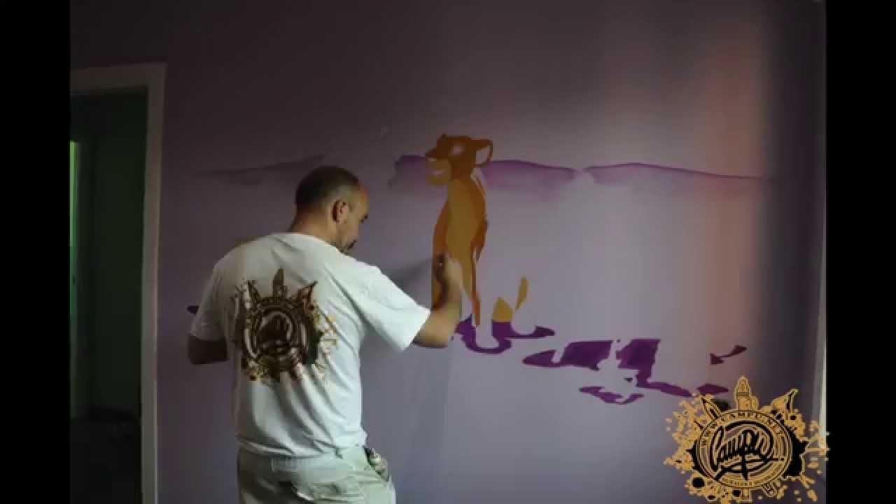 Pintura mural decoraci n infantil mural rey le n y bambi - Mural pared infantil ...