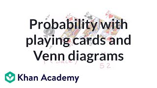 Probability with playing cards and Venn diagrams | Probability and Statistics | Khan Academy