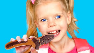 Vitalina Chocolate Challenge Pretend Play with Toolbox Toys | Making Chocolate Food Kids Toys
