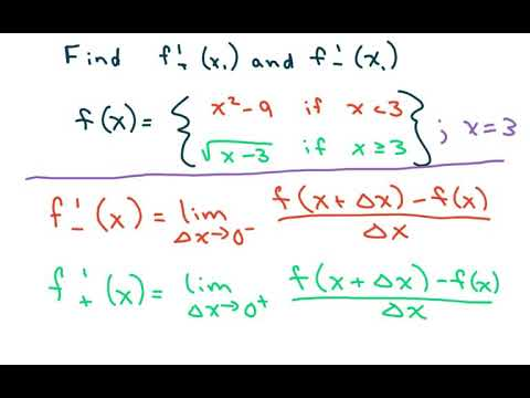 How To Find The Derivative Of a Piecewise Defined Function at f(3). Quadratic, Square Root