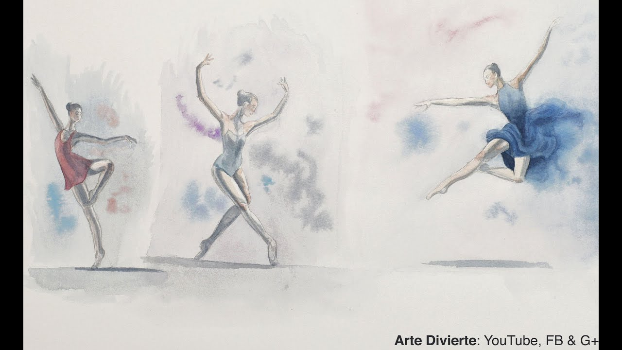 Cómo Pintar Bailarinas Boceto En Acuarela Ballet Youtube
