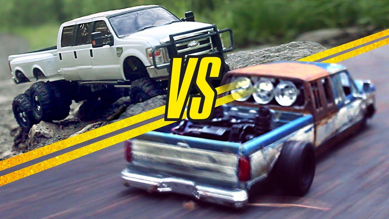 lifted truck vs lowrider rat rod    f-350 rc