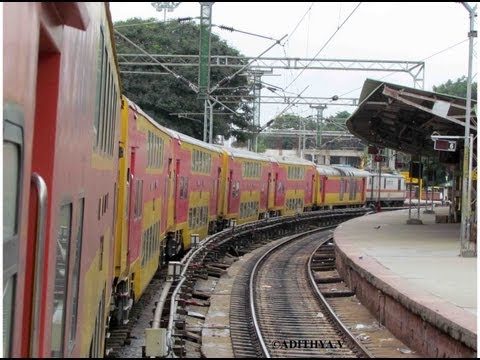 Indian Railways Locomotive Class WAP-7 coupling with 22626 Bengaluru Chennai Double Decker Express
