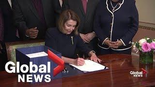 Pelosi signs bill to avert government shutdown, heads to Trump for signature