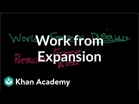 Work from expansion | Thermodynamics | Physics | Khan Academy
