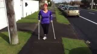 Repeat youtube video Amputee Tara: Out and about on crutches.