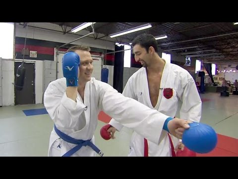 David Common gets a lesson in karate