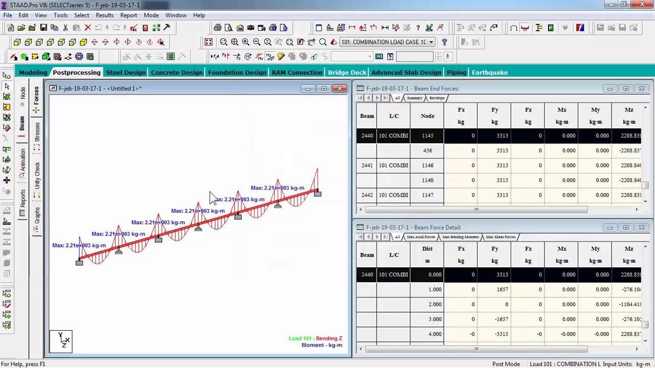 Setting Beam Results Bending Moment And Shear Staadpro V8i By Max Diagram For Frames Haha
