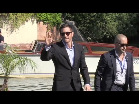 Jake Gyllenhaal arrive on a boat at the Venice Film Festival 2016