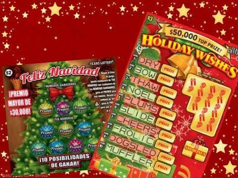 2 X $3 Holiday Wishes & 2 X $2 Feliz Navidad Texas Lottery Scratch Off Tickets