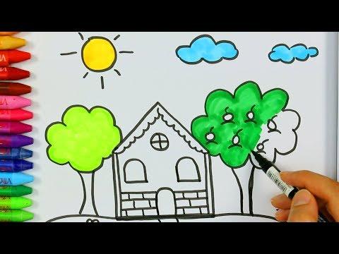 Dibujar Casa Y El Sol Juego De Pintar Con Que Llueva Cancion🏡|Cómo Dibujar Y Colorear Los Para Niños