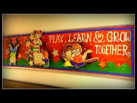 Play learn and grow together bulletin board idea for school